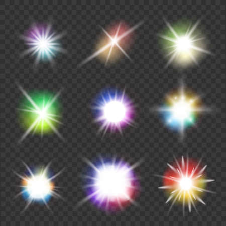 flashes: set of vector flashes with color lights
