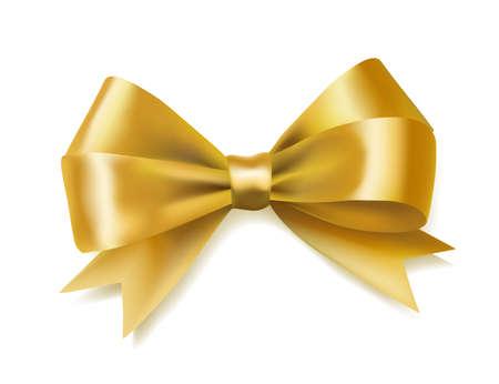 gouden boog lint op wit. decoratief element. vector