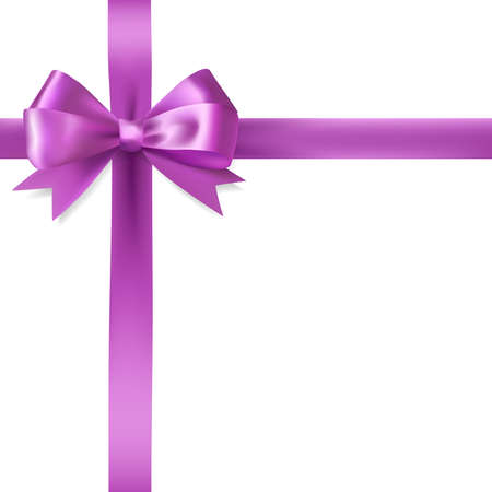 purple ribbon: purple ribbon bow border on white background. vector design elements Illustration