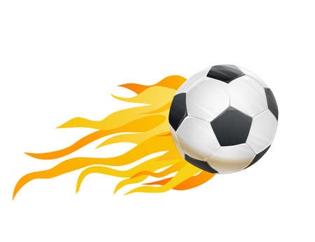 flames vector: soccer ball and fire flames. vector illustration