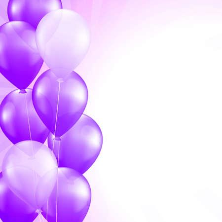purple balloons border vector background