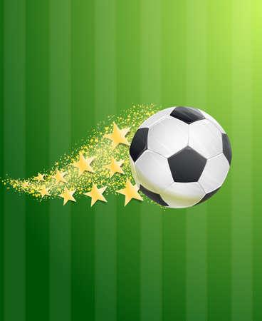 golden field: soccer ball flying over green football field with golden stars trail. vector Illustration