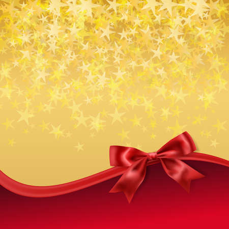 stary: golden stary background with red bow decoration. vector Illustration