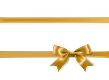 gift ribbon: golden bow decoration on white. vector