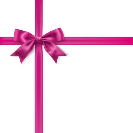 실크 핑크 나비 장식 화이트입니다. 벡터 디자인 요소 일러스트