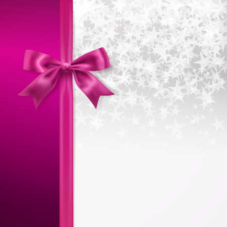 pink bow: silver starry background with pink bow decorative background. vector