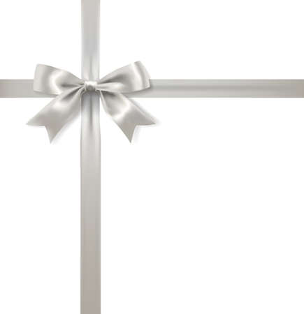 silver cross: silver bow decoration and ribbon on white background. vector Illustration