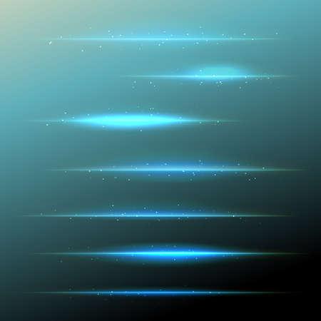 azul: conjunto de lente azul del vector se ensancha con partículas brillantes. elementos de diseño Vectores