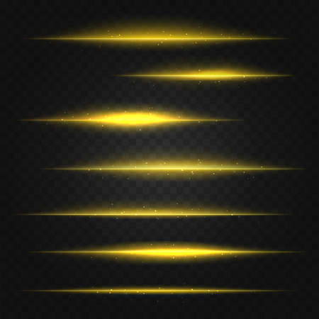 flares: set of vector golden yellow lens flares on transparent background Illustration