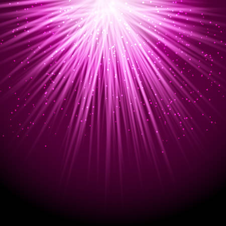 purple abstract background: light rays falling from above with sparkling particles purple abstract background. vector