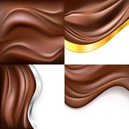 romige chocolade op een witte achtergrond set. vector