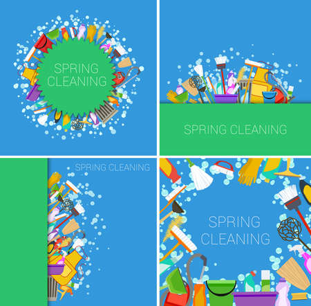 spring cleaning: set of spring cleaning supplies green and blue backgrounds. vector
