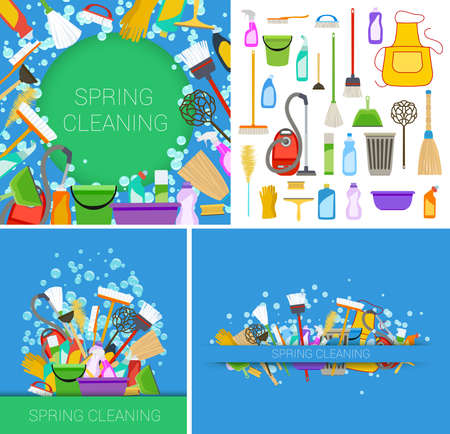 set of house cleaning supplies blue backgrounds. vector