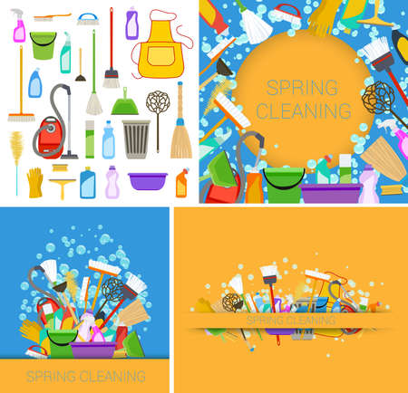 set of spring cleaning supplies blue and yellow backgrounds. vector Ilustracja