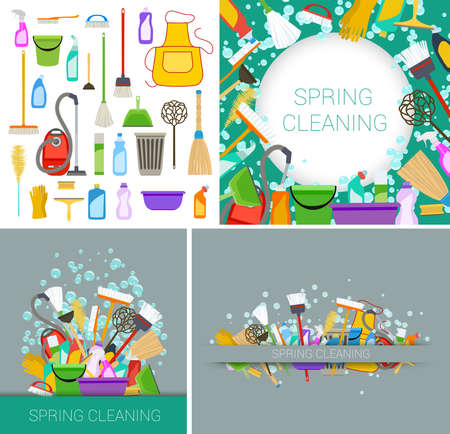 spring cleaning: set of house spring cleaning supplies green and grey backgrounds. vector