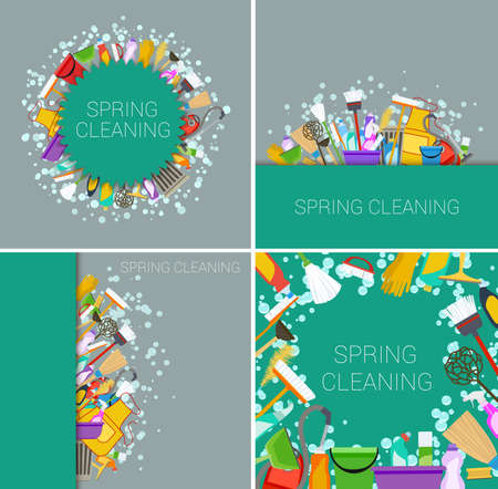 green cleaning: set of house cleaning supplies green backgrounds. vector Illustration