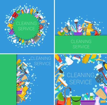 green cleaning: set of cleaning service supplies green and blue backgrounds. vector Illustration