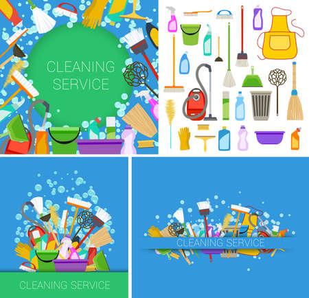 servicio domestico: conjunto de servicio de limpieza suministra fondos. vector