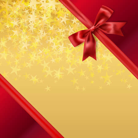 stary: golden stary background with red silky ribbon bow decoration. vector