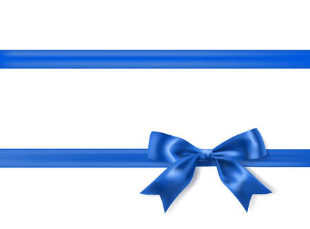 royal blue silky bow and ribbon border on white background. vector