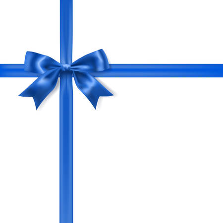 bow ribbon: royal blue silky bow and ribbon on white background. vector