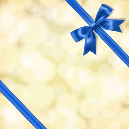 blue ribbon: blue silky bow and ribbon on blurry gold background. vector Illustration