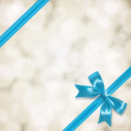 vow: light blue vow and ribbon on blurry background. vector illustration