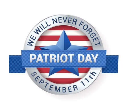 11th: Patriot Day September 11th digital sign with star and ribbon. vector illustration Illustration
