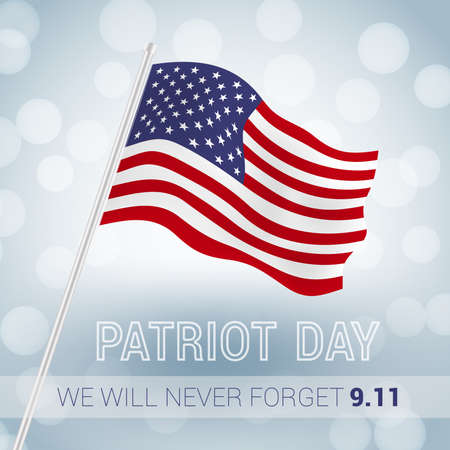 eleventh: We will never forget 9.11 Patriot Day with USA flag illustration. vector Illustration