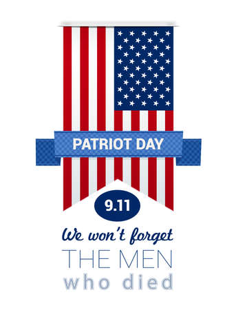 eleventh: 9.11 Patriot Day with USA flag and ribbon illustration. vector