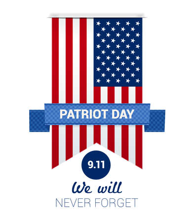 sep: 9.11 Patriot Day with USA flag illustration. vector
