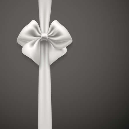 color background: white bow ribbon on grey background. vector