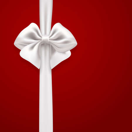 white bow: white bow on red background. vector