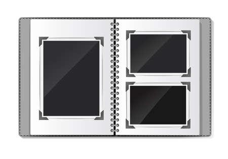 album fotografico con cornici vuote a spirale su bianco. illustrazione vettoriale Vettoriali