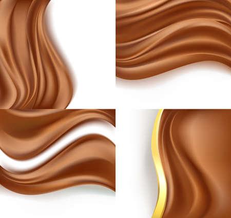 白い背景のクリーミーな乳白色のチョコレートを設定します。ベクトル