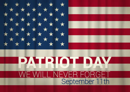 patriot: patriot day illustration and USA flag. vector illustration