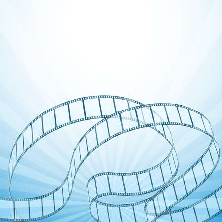 cinema film: abstract cinema background with retro film strips, rays. vector illustration Illustration