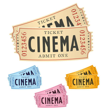 cinematograph: a pair of cinema tickets isolated on white with color variations. vector illustration