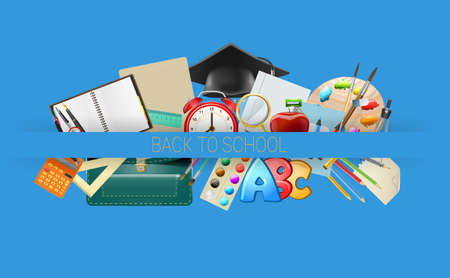 teaching crayons: school items background, education workplace accessories. vector illustration