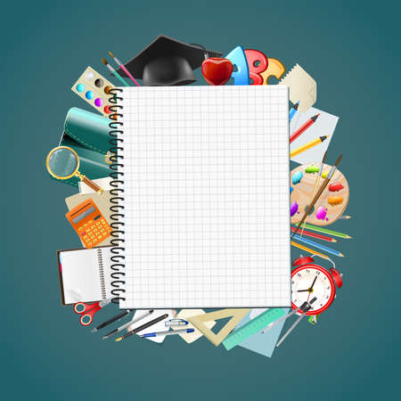 Back to scnotepad blank page school background with education workplace accessories. vector illustrationhool background with school supplies, education workplace accessories. vector illustration