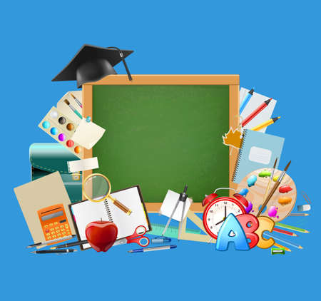 pallette: Back to school blue background with chalkboard, graduation cap, school supplies, education workplace accessories. vector illustration Illustration
