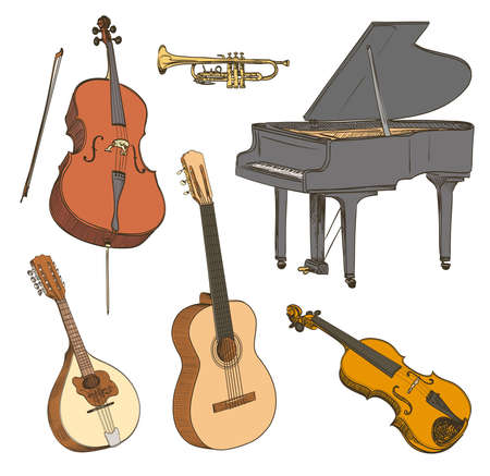 guitar: Set of hand drawn classical musical instruments. Cello, violin, guitar, mandolin, piano. Vector illustration