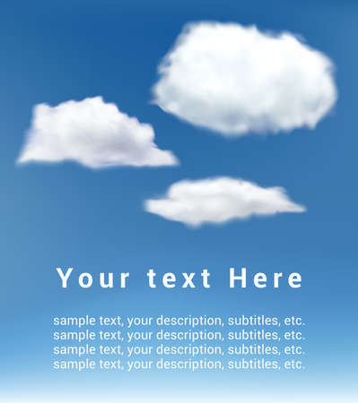white clouds: realistic vector white clouds on blue sky background