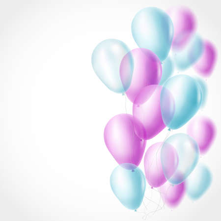 pink balloons: light blue and pink balloons background. vector illustration