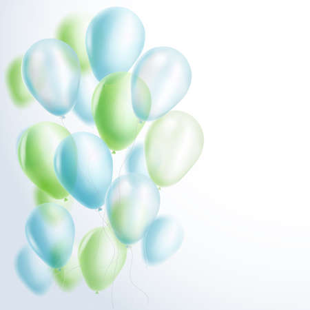 green balloons: light blue and green balloons background. vector illustration Illustration