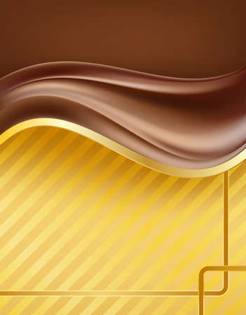 chocolate creamy waves over golden background with border. vector illustration