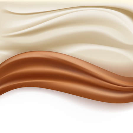 creamy: soft creamy milky and chocolate abstract waves over white background. vector illustration