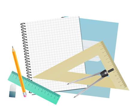 Notebook blank page, rulers, pencil, divider and eraser. School background. vector illustration Illustration