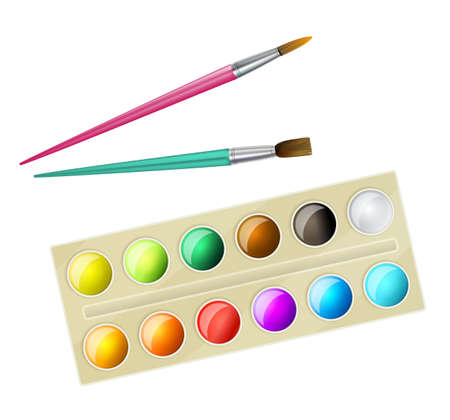 paintbox: watercolor paintbox and brushes for children. vector illustration
