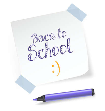 Sheet of paper with adhesive tape and marker. Back to school message. vector illustration